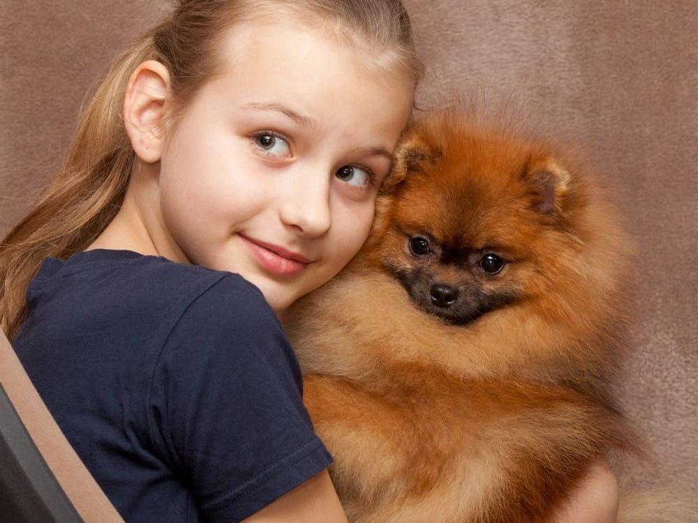 Kind mit Kleinspitz auf dem Arm
